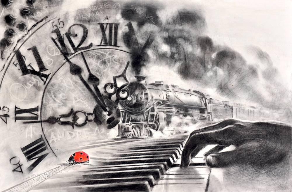 Angiolo Volpe Avanti e indietro nel tempo disegno grafite