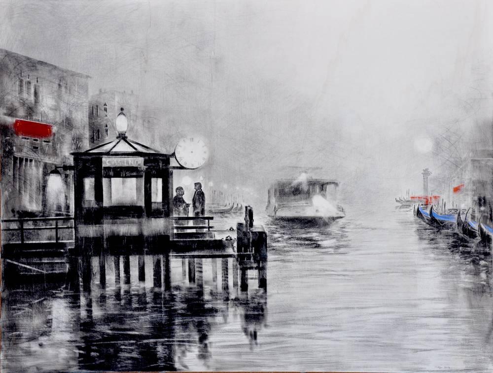 Angiolo Volpe Intrigo a Venezia disegno grafite