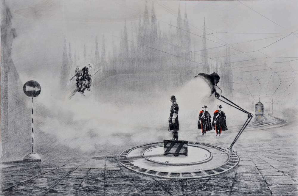 Angiolo Volpe Miracolo a Milano disegno grafite