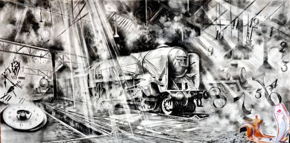 Angiolo Volpe Officina del tempo disegno grafite
