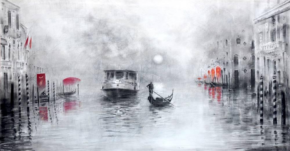Angiolo Volpe Venezia in bianco e nero disegno grafite