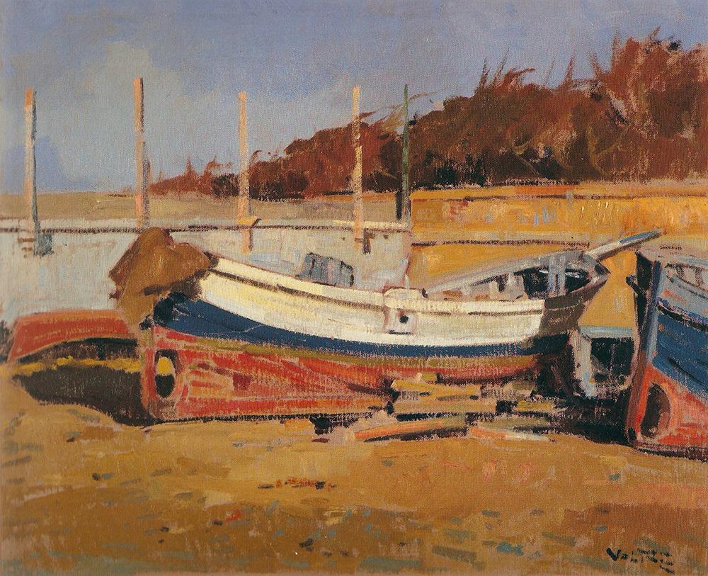 barche in secca olio su tela