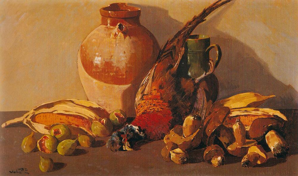 Angiolo Volpe composizione-fagiano natura morta olio su tela