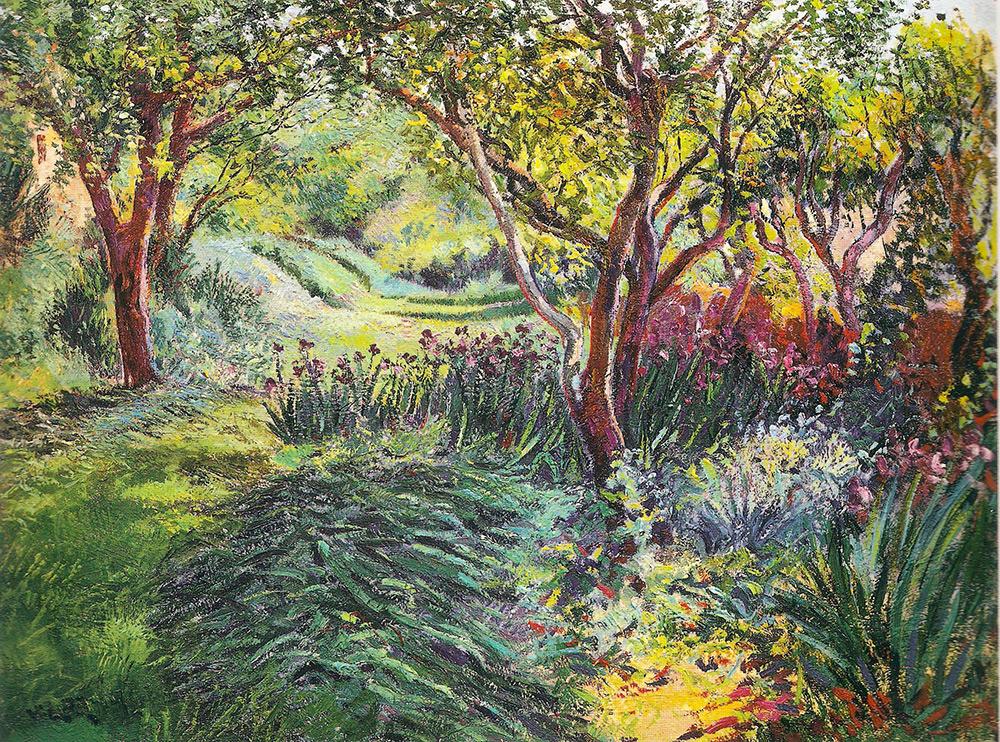 Angiolo Volpe giardino olio su tela