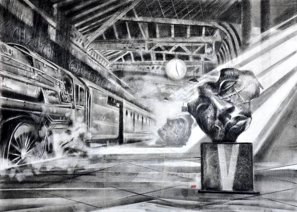 Angiolo Volpe Le scuderia degli angeli Disegno grafite